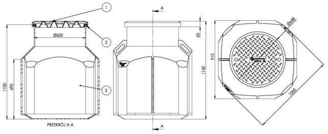 Studnia kablowa VENKON SK-1000 - wymiary