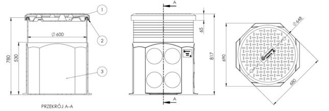 Studnia kablowa VENKON SK-680 - wymiary